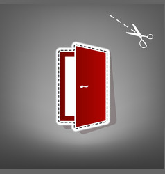 Door sign red icon with for vector