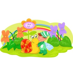 Elf with cute snail and flowers vector image vector image