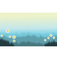 Flower and grass spring landscape vector