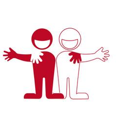 friendship hug each other partnership vector image