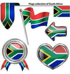 Glossy icons with south african flag vector