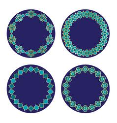 Gold blue moroccan circle frames vector