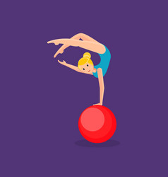 gymnast girl entertains audience showing exercise vector image