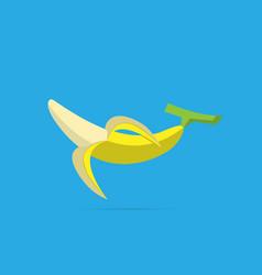 Half peeled banana on light blue background vector