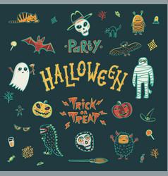 halloween character set vector image vector image