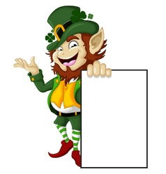 Happy Leprechaun with blank sign for you design vector image vector image