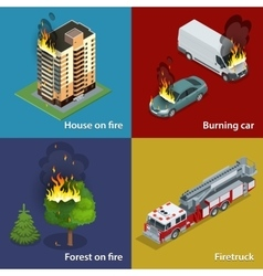 House on fire burning car forest on fire vector