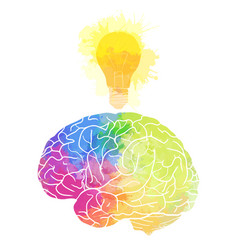 Human brain with rainbow watercolor splashes and vector