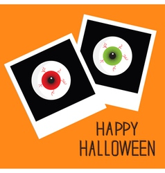 Instant photo with eyeball bloody streaks vector