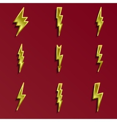 Lightning 3d icons set vector image vector image