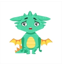 Little anime style baby dragon upset and vector