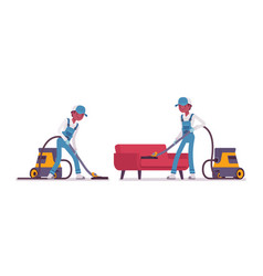 Male janitor vacuum cleaning indoors vector