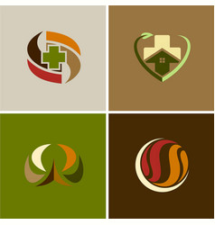 medic cross house logos vector image vector image
