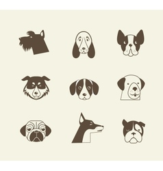 Pets icons - cats and dogs elements vector image