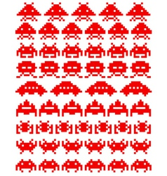Red space invaders vector