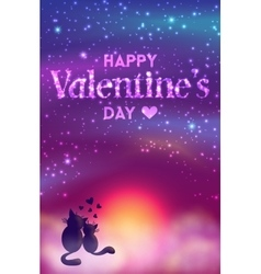 Romantic valentines day card of cute cats vector