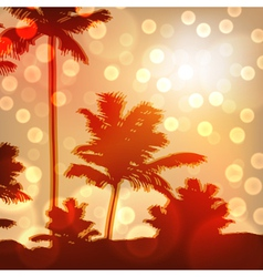 Sea sunset with island and palm trees vector image vector image
