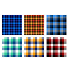 Seamless checkered plaid pattern bundle 3 vector