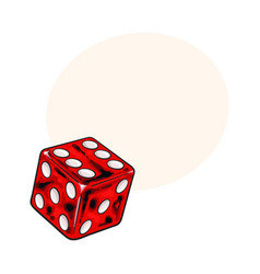 Single shiny red dice isolated sketch style vector