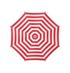 White Umbrella With Red Stripes Top View vector image vector image