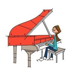 Woman pianist vector