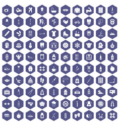 100 fit body icons hexagon purple vector