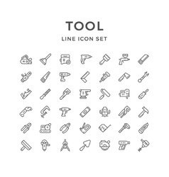 Set line icons of tool vector