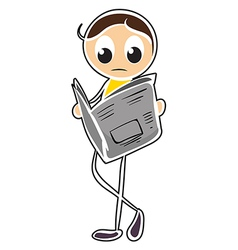 A boy reading newspaper vector