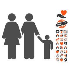 family icon with valentine bonus vector image