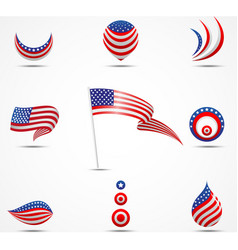 Flags and icons of america vector