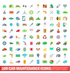 100 car maintanance icons set cartoon style vector