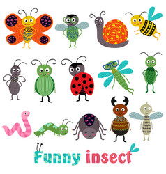 Set of isolated with funny insect vector