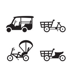 Traditional vehicle icons in thailand vector