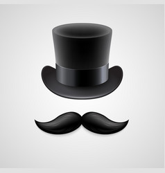 Vintage top hat mustaches vector
