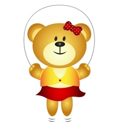Cute girl cartoon bear playing skipping rope vector