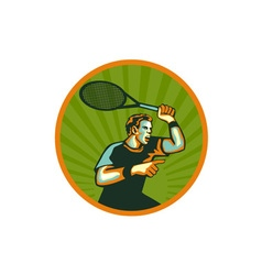 Tennis player racquet circle retro vector