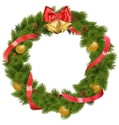 Christmas wreath with bells vector