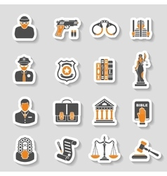 Crime and punishment icons sticker set vector