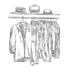 Sketched wardrobe hand drawn clothes vector