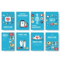 Medicine information cards set medical template vector