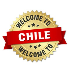 Chile 3d gold badge with red ribbon vector