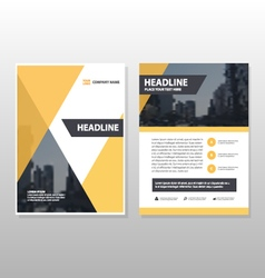 Yellow annual report leaflet brochure template set vector