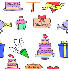 Art of wedding element doodles vector