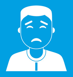 Asian man icon white vector