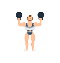 athlete amuses audience showing strength exercise vector image