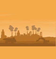 Bad environment pollution industry silhouettes vector
