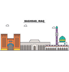 Baghdad iraq outline skyline arab flat thin line vector