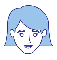 Blue silhouette of woman with the hair down to the vector