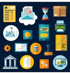 Business financial and office flat icons vector