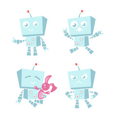 cartoon character cute blue robot vector image